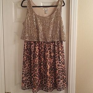 Leopard print sequin dress